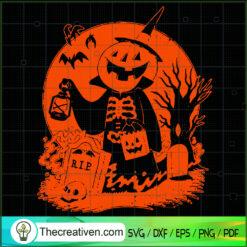 Halloween Pumpkin In Cemetery SVG, Scary Halloween SVG, Halloween SVG