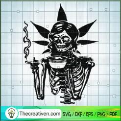 Skeleton Mom Smoke Weed SVG, Girl Cannabis SVG, Marijuana SVG