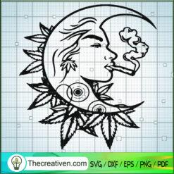 Moon Girl Smoke Weed SVG, Moon Cannabis SVG, Marijuana SVG