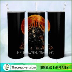Halloween Is Coming Full Tumbler Wrap, Halloween 20oz Skinny Straight, Skinny 20oz, PNG Digital File