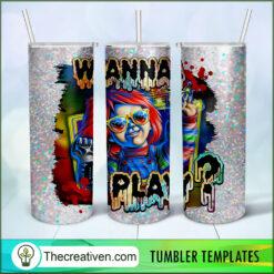 Wanna Play? Chucky Full Tumbler Wrap, Chucky 20oz Skinny Straight, Skinny 20oz, PNG Digital File