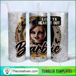 Eat Ya Heart Out Barbie Full Tumbler Wrap, Halloween 20oz Skinny Straight, Skinny 20oz, PNG Digital File