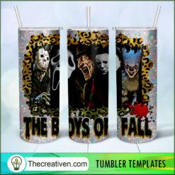 The Boys Of Fall Full Tumbler Wrap, Halloween 20oz Skinny Straight, Skinny 20oz, PNG Digital File