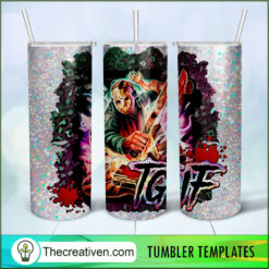 Tgif Jason Voorhees Full Tumbler Wrap, Halloween 20oz Skinny Straight, Skinny 20oz, PNG Digital File