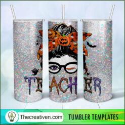 Teacher Halloween Full Tumbler Wrap, Halloween 20oz Skinny Straight, Skinny 20oz, PNG Digital File