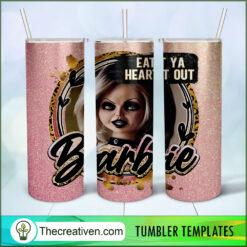 Eat Ya Heart Out Barbie Horror Full Tumbler Wrap, Halloween 20oz Skinny Straight, Skinny 20oz, PNG Digital File