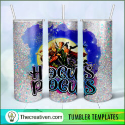Hocus Pocus Full Tumbler Wrap, Halloween 20oz Skinny Straight, Skinny 20oz, PNG Digital File