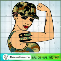 Army Veteran Tattoo Girl SVG, Army Girl SVG, American SVG